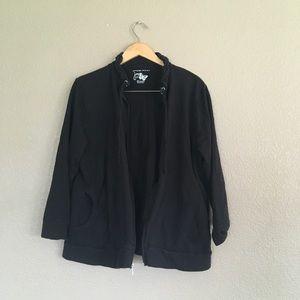 Basic black zip up